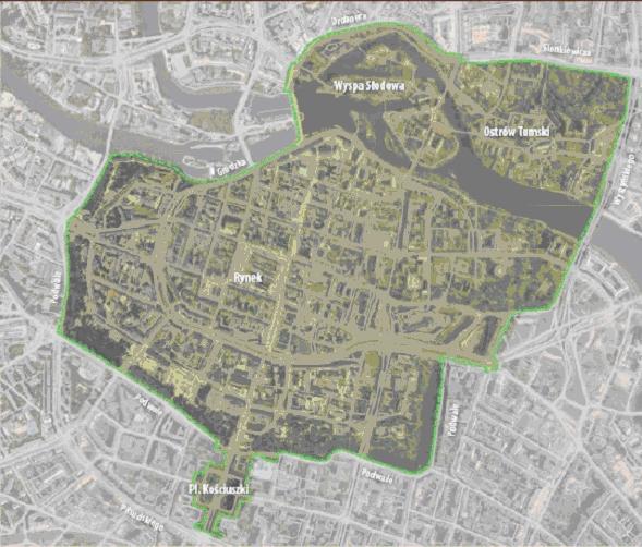 mapa z zakreślonym obszarem Parku Kulturowego Staregoo Miastao