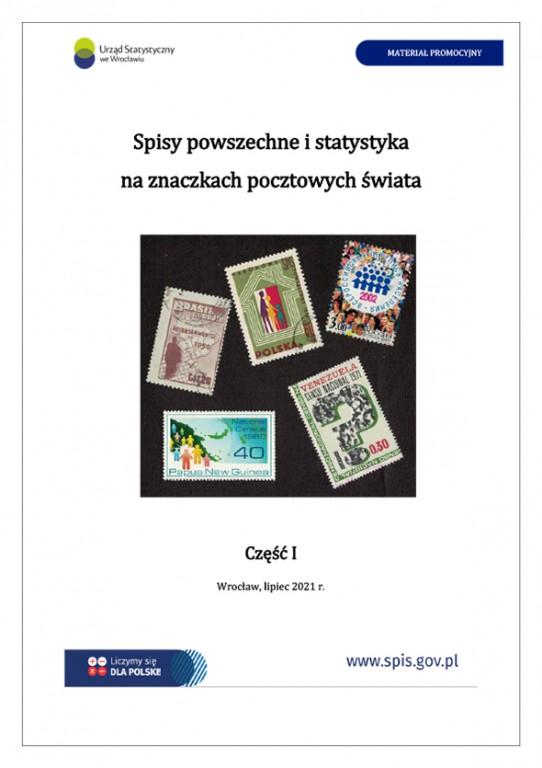 strona tytułowa publikacji, znaczki pocztowe wydane z okazji spisów